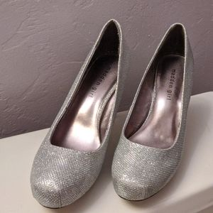 Madden Girl Silver Heels Size 8